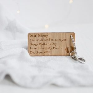 Personalised Baby Bump Mother's Day Keyring