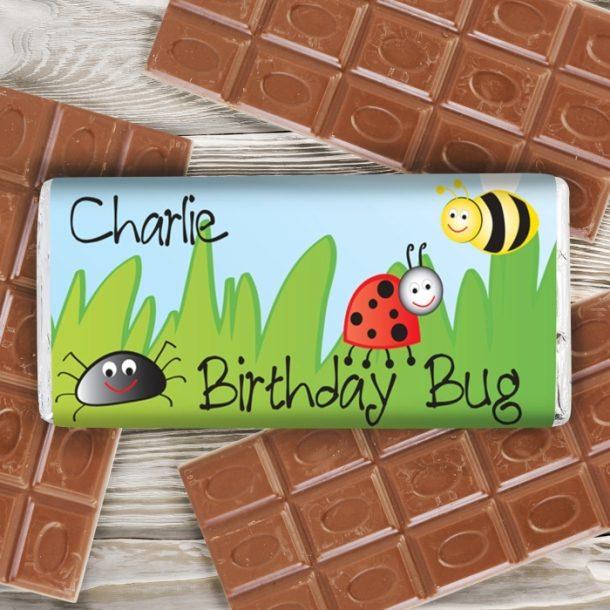 Personalised Birthday Bug Milk Chocolate Bar