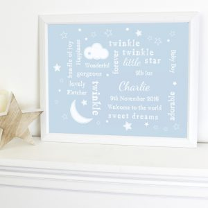 Personalised Blue Twinkle Typography White Framed Poster Print