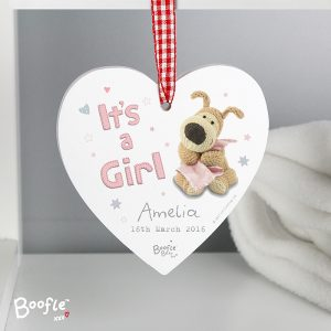 Personalised Boofle It's a Girl Wooden Heart Decoration