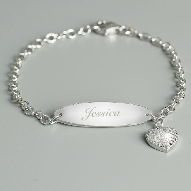 Personalised Children's Sterling Silver & Cubic Zirconia Bracelet