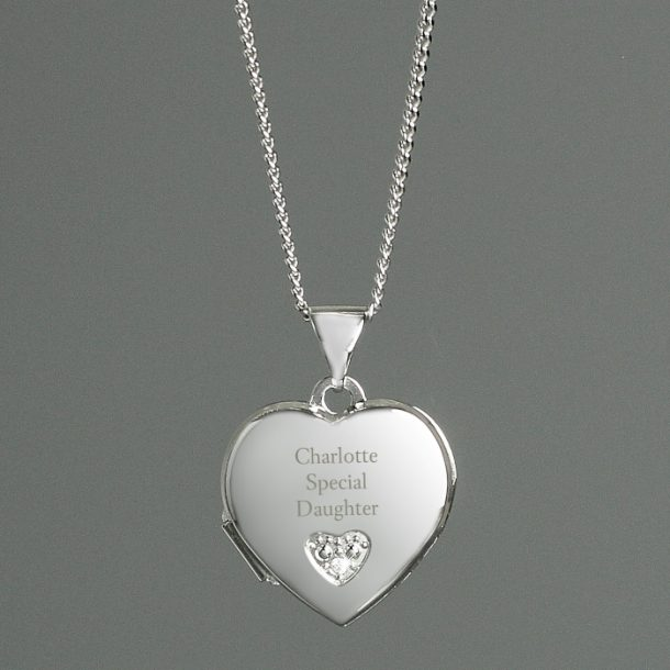 Personalised Children's Sterling Silver & Cubic Zirconia Locket Necklace