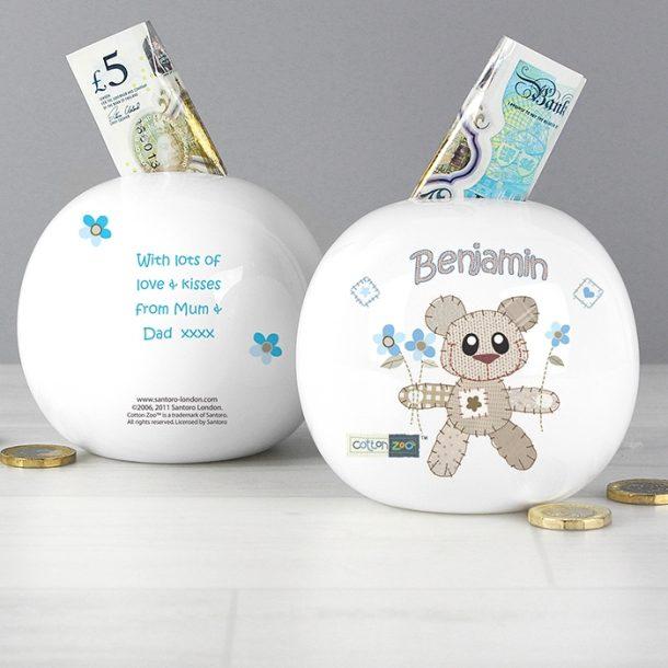 Personalised Cotton Zoo Tweed the Bear Boy Money Box