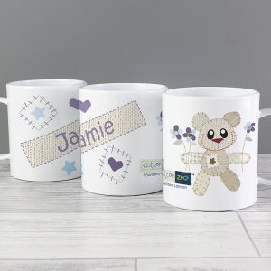 Personalised Cotton Zoo Tweed the Bear Boys Plastic Mug