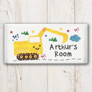 Personalised Digger Door Plaque