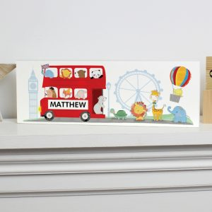 Personalised London Animal Bus Wooden Block Sign