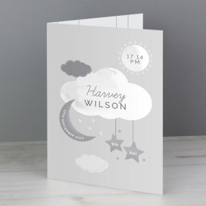 Personalised New Baby Moon & Stars Card