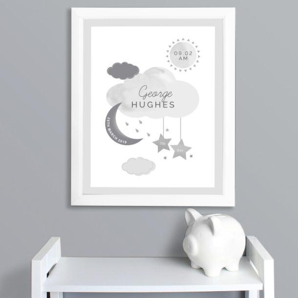 Personalised New Baby Moon & Stars White Framed Nursery Print