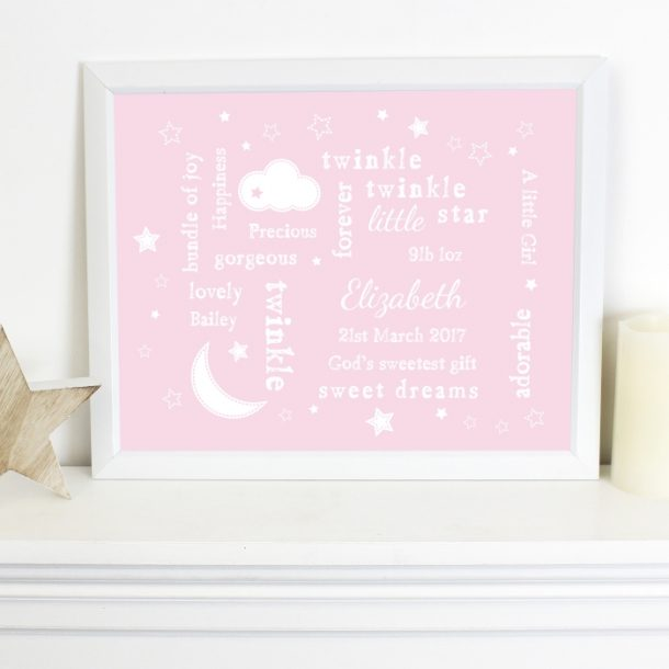Personalised Pink Twinkle Typography White Framed Poster Print