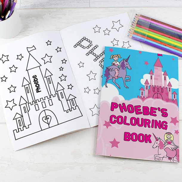 Personalised Princess & Unicorn Colouring Book & Pencil Crayons