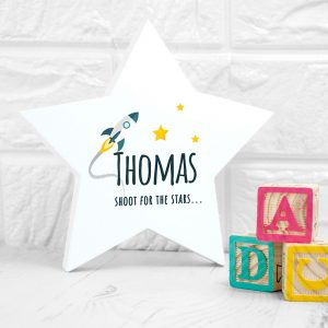 Personalised Rocket To The Stars Wooden Keepsake