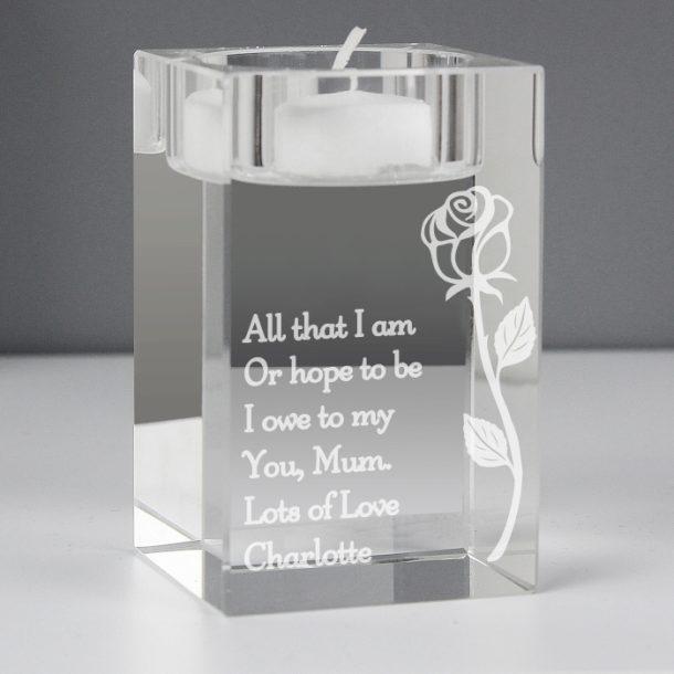 Personalised Rose Glass Tea Light Holder