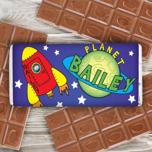 Personalised Space Milk Chocolate Bar
