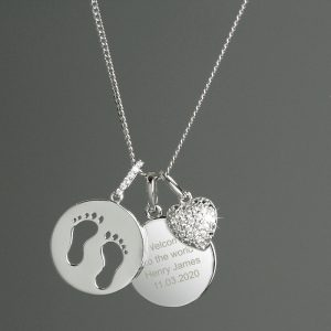 Personalised Sterling Silver Footprints & Heart Necklace