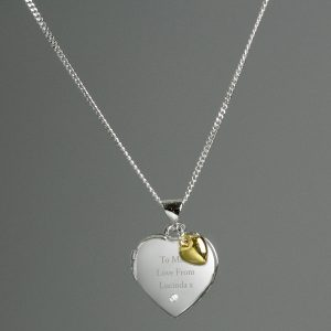 Personalised Sterling Silver Heart Locket & Diamond With 9ct Gold Charm