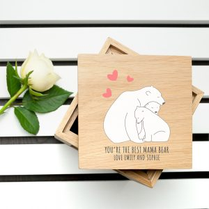 Personalised The Best Mama Bear Oak Photo Cube