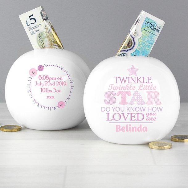 Personalised Twinkle Girls Money Box