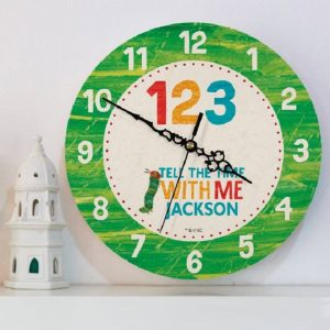 Personalised Very Hungry Caterpillar Tell The Time With Me Clock