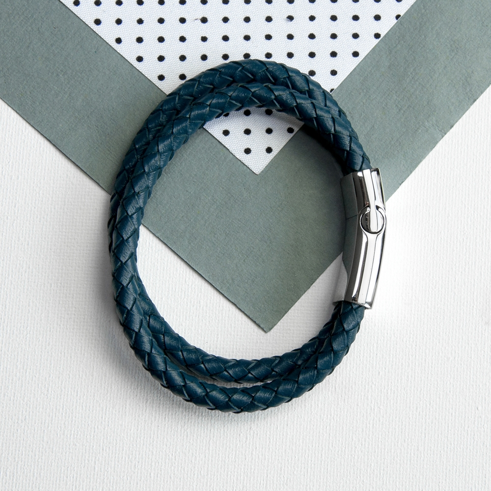 Personalised Men S Dual Leather Woven Teal Bracelet Love