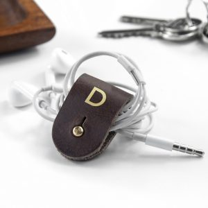 Monogrammed Leather Earphone Holder