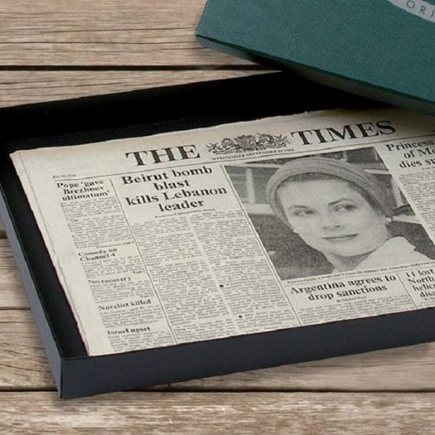 Original Newspaper & Premium Green Gift Box - Any Date
