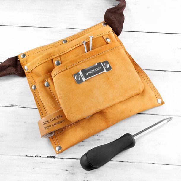 Personalised Six Pocket Leather Tool Belt