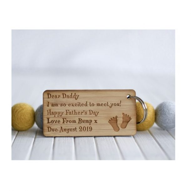 Personalised Dear Daddy Father's Day Baby Bump Keyring