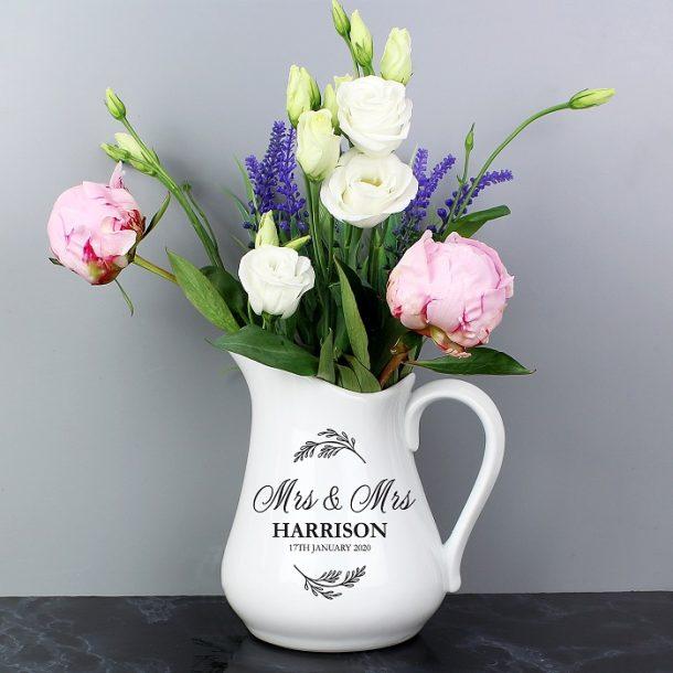 Personalised Classic Wedding Ceramic Flower Jug