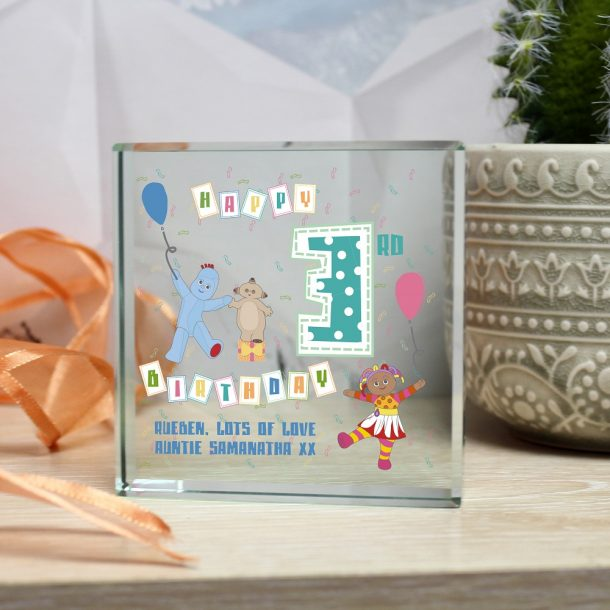 Personalised In The Night Garden Birthday Glass Block