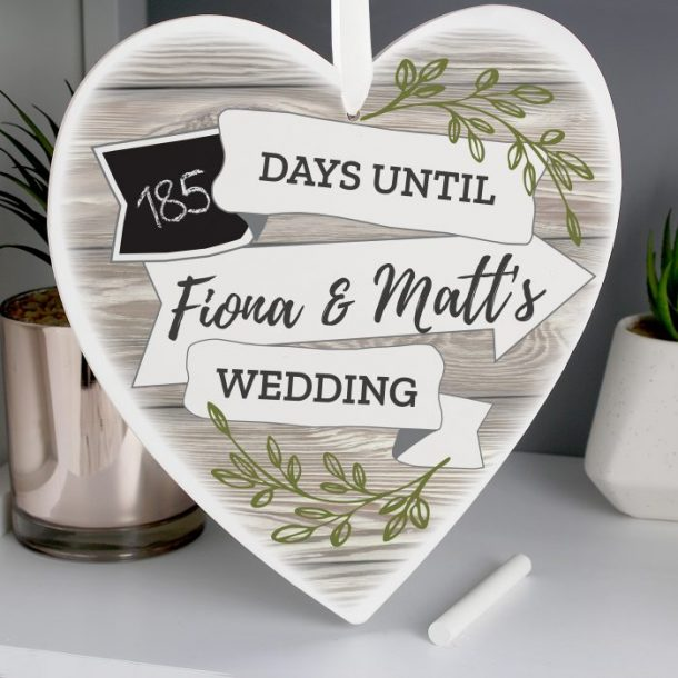 Personalised White Arrow Chalk Countdown Wooden Heart Decoration