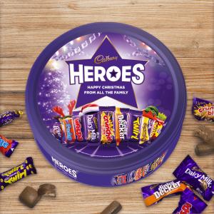 Personalised 580g Christmas Cadbury Heroes Tin