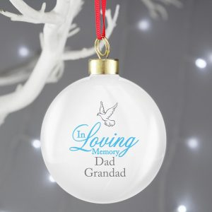 Personalised In Loving Memory Dove Blue Bauble