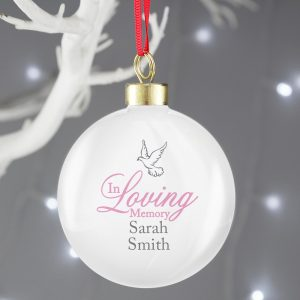 Personalised In Loving Memory Dove Pink Bauble