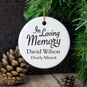 Personalised In Loving Memory Round Ceramic Decoration
