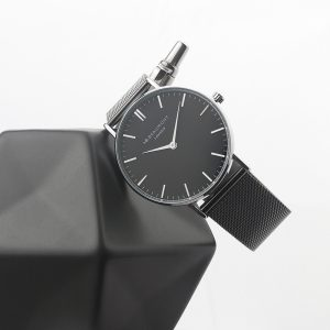 Personalised Men's Metallic Charcoal Grey Watch With Black Dial