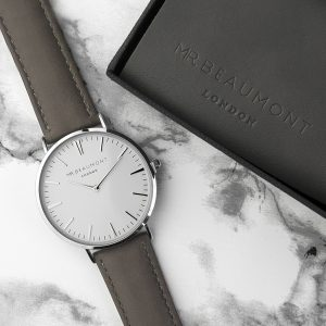 Personalised Men's Modern Ash Leather Watch With White Dial