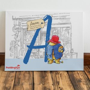 Personalised Paddington Bear Initial Canvas