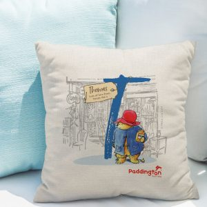 Personalised Paddington Bear Initial Linen Cushion