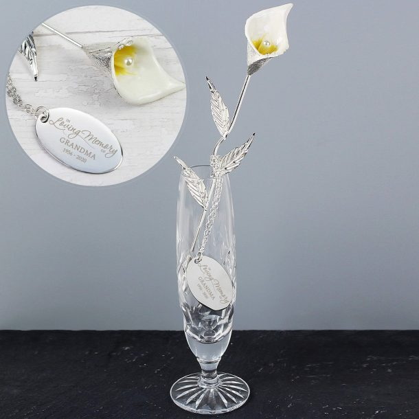 Personalised Silver Plated In Loving Memory Calla Lily Flower Ornament