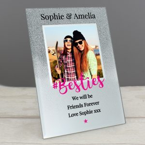 Personalised 'Bestie' 4x4 Glitter Glass Photo Frame