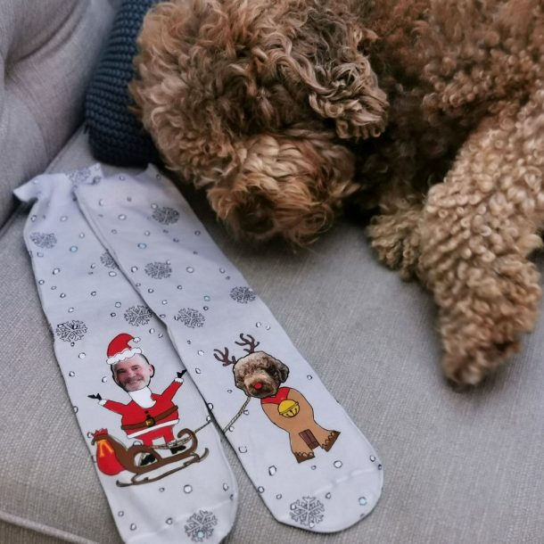 Personalised Dog And Owner Christmas Socks