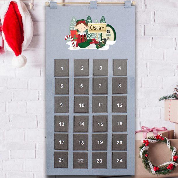 Personalised Elf Advent Calendar In Silver Grey