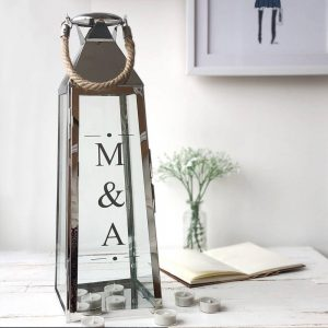 Personalised Extra Large Silver Lantern