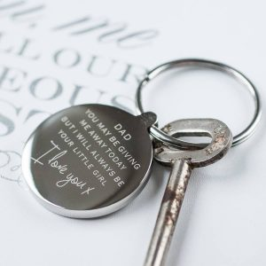 Personalised Giving Me Away Wedding Keyring
