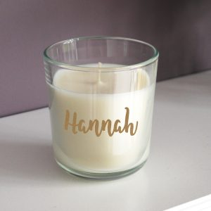 Personalised Gold Name Scented Jar Candle