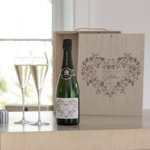 Personalised Golden Wedding Champagne Box Set