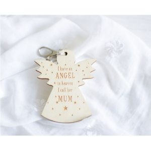 Personalised Guardian Angel Wooden Keyring