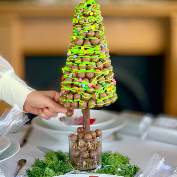 Personalised Malteser Christmas Tree Green Drizzle And Fairy Lights