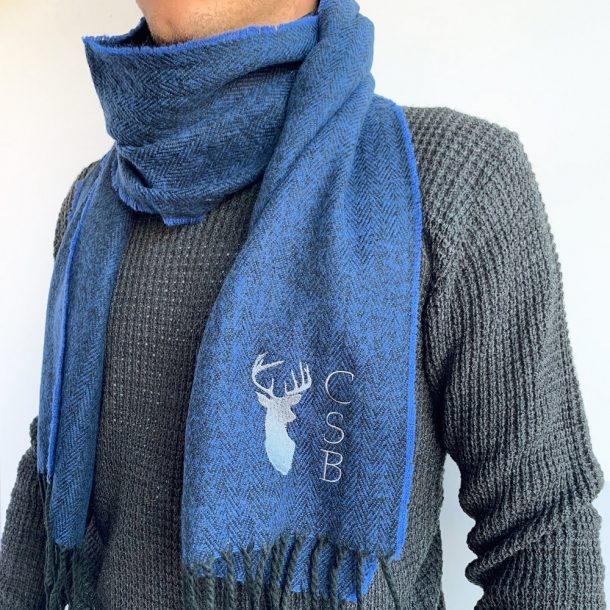 Personalised Men's Blue Stag Scarf