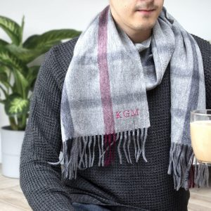 Personalised Men's Lambswool Grey Checked Scarf